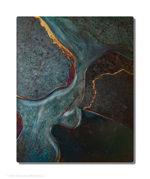 This organic abstract metal photo print was inspired by satellite imagery of the Lower Kuskokwim Delta in Alaska. The original piece of metal wall art was made in engraved and heat tinted steel.