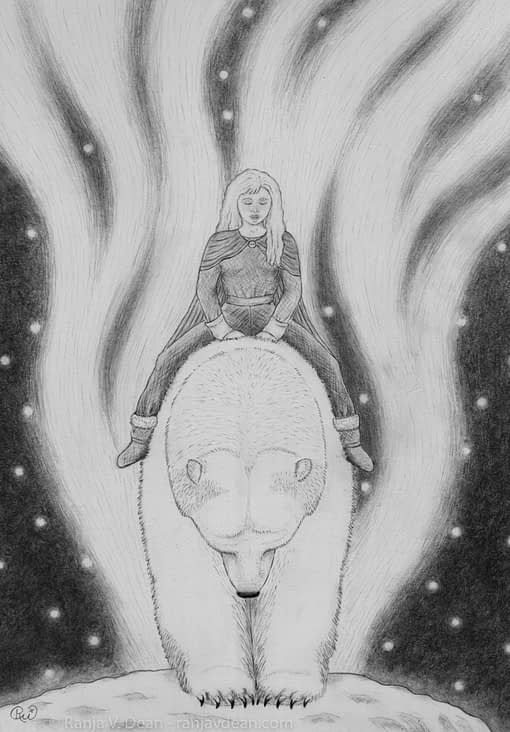 A girl sits quietly on the back of a polar bear under the flickering northern lights.