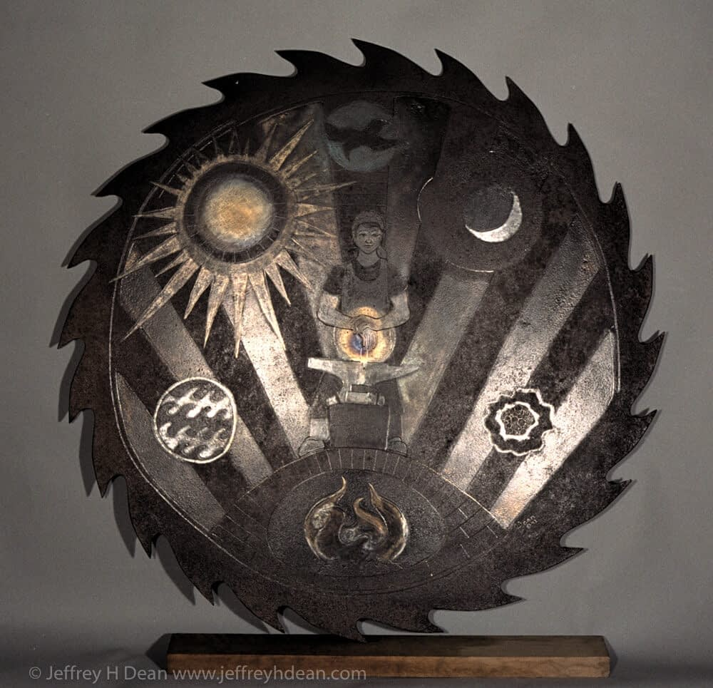 Engraved steel  saw blade metal wall art of blacksmith in the forge.