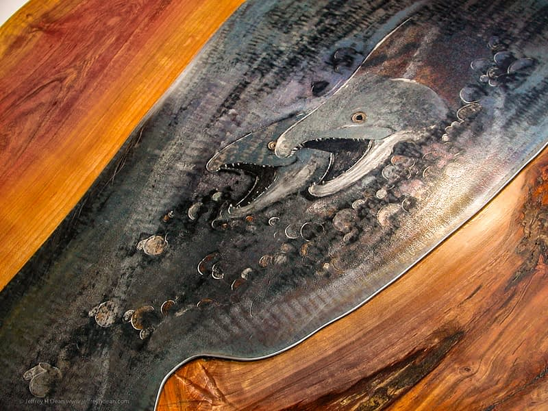 Lifecycle in salmon stream. Engraved steel with heat tints on cherry dining table.