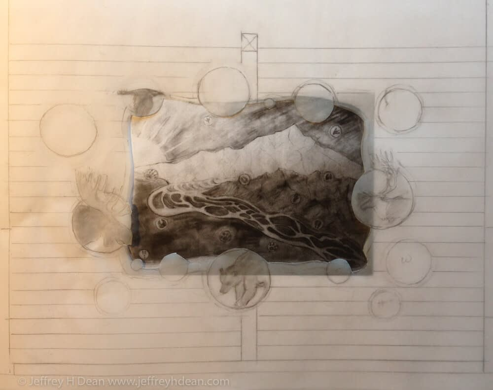 Evolution of a design for percent for art engraved steel wall piece.