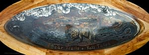 Metal wall art decorative Coffee Table made for Bear Trail Lodge in the Bristol Bay region of Alaska.