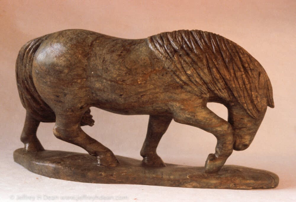 Soapstone carving of horse in the wind.