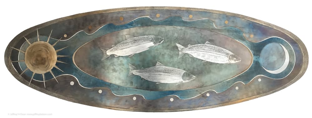 Three silver salmon swim between the tides, the sun and moon in this engraved steel metal wall art.