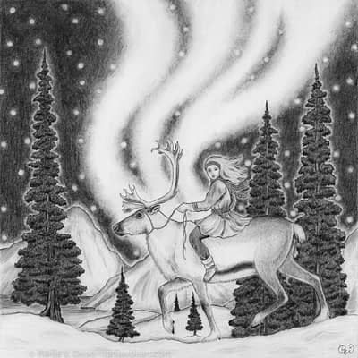 The aurora dances overhead as a girl rides her reindeer through a northern forest.