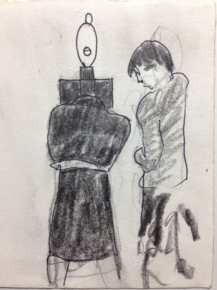 Sketch of a couple trying to make sense of Brancusi's Blonde Negress II at the Museum of Modern Art.