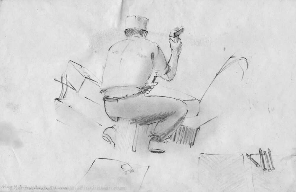 Sketch of Italian flagstone carver in Florence, Italy.