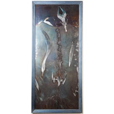 Metal wall art in engraved and heat tinted steel depicting an underwater scene of diving gannet birds.