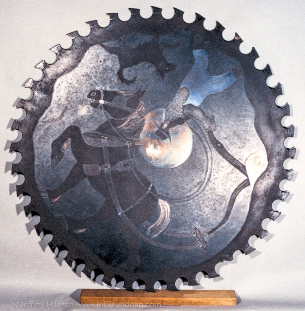 Metal wall art on a saw blade of a farmer plowing with his horse in the early morning moonlight.