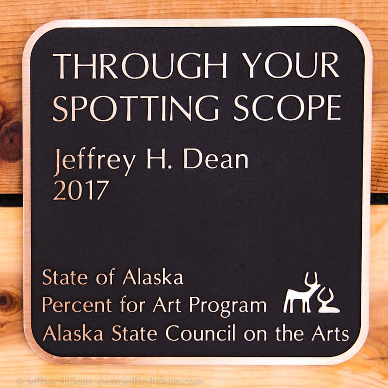 Bronze plaque for Jeffrey H. Dean's 2017 commission, the first State of Alaska percent for art program commission in Alaska state parks.