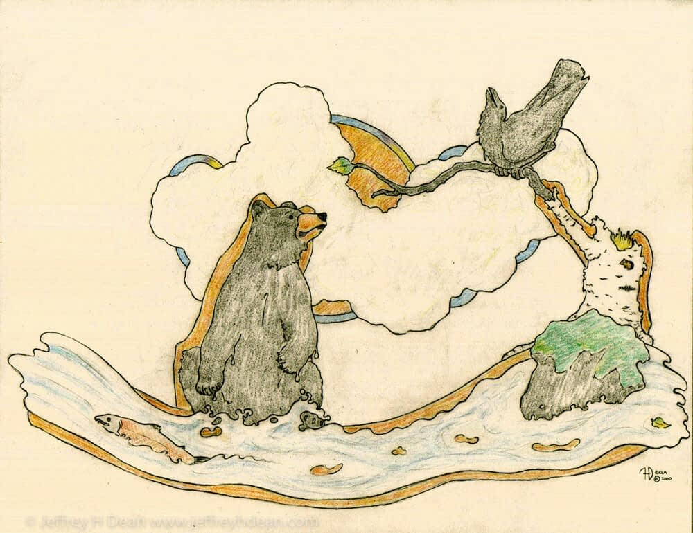 A lone salmon sneaks past a fishing bear who is distracted by a helpful raven.