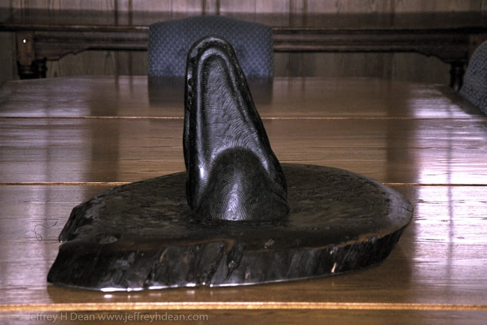 Black Alberene soapstone carving of an alligator in the swamp for University of Florida.