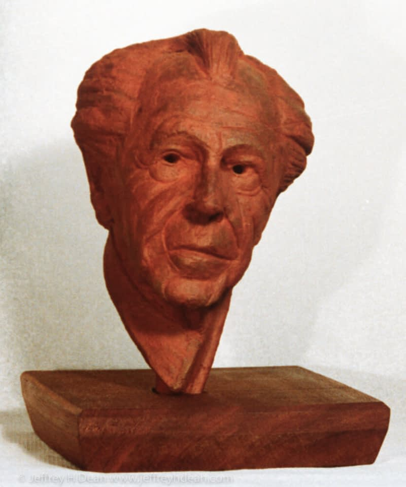 Fired clay portrait of Frank Lloyd Wright.