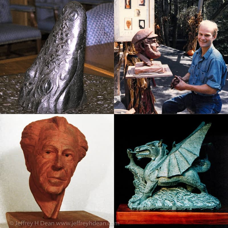 Jeff Dean clay and stone sculpture sampling