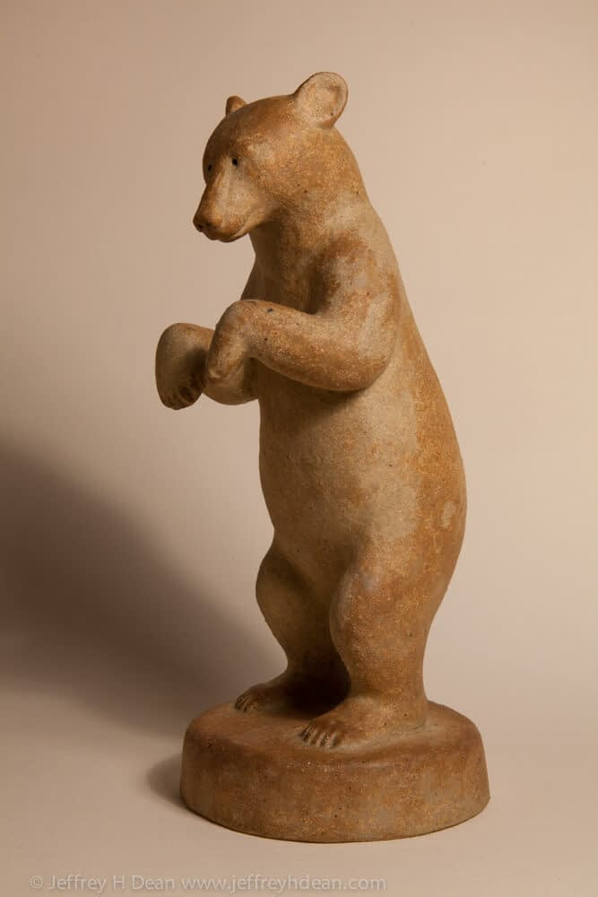 Clay black bear sculpture. Available in bronze.