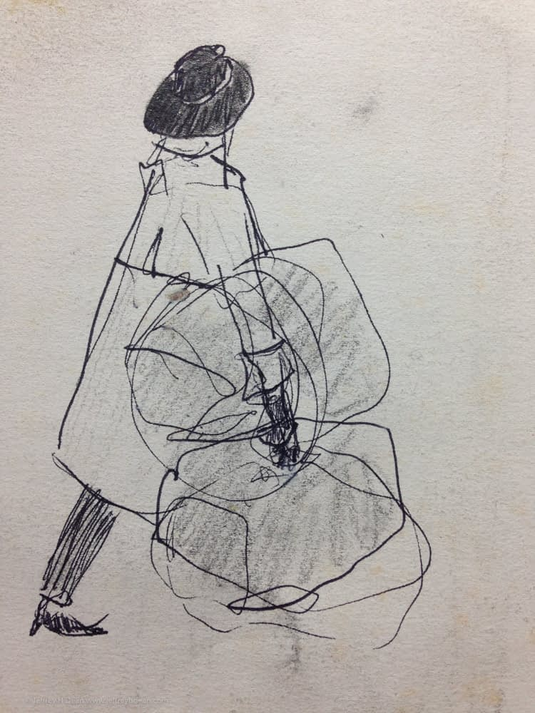 Sketch of a woman carrying bundles of shopping bags on the streets of New York.