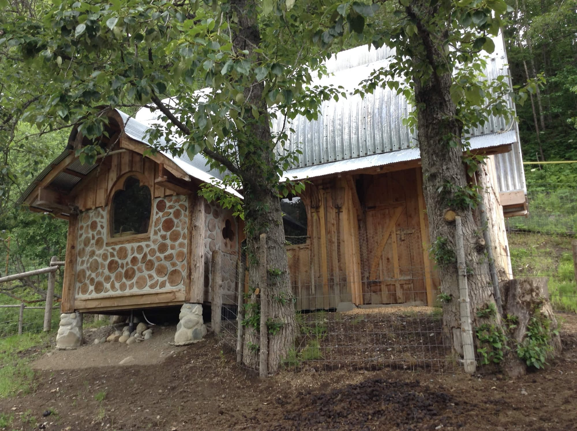 Cordwood tack room in donkey barn at Dean Family Farm and Art Studios.