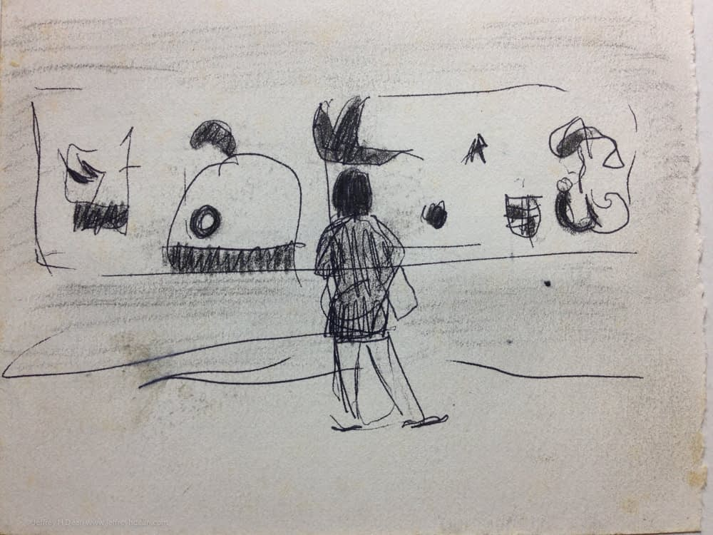Sketch of a woman looking at a painting by Joan Miro in the Guggenheim Museum.