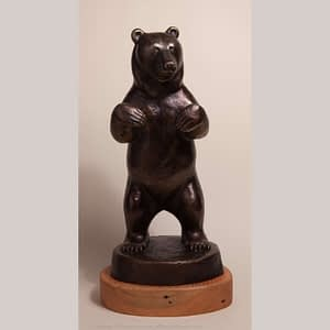 Bronze sculpture of standing grizzly bear