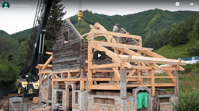 Cover image for timber frame barn raising time lapse vidwo